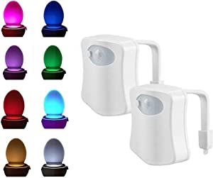 2-Pack Motion Sensor LED Toilet Night Light, Ivishow Advanced Auto Body Motion Activated Seat Light Inside Toilet Bowl, 8-Color Changing Lamp (Only Activates in Darkness)