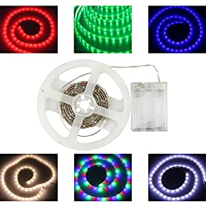 Amazon Com Battery Powered Led Strips Rgb 60leds M Waterproof Flexible Led Strip Light 3528