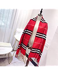 YUANZ Home Autumn and Winter Warm Tassel Scarf Classic Plaid Scarf Fashion Scarf (Color : Red, Size : 180 * 70)