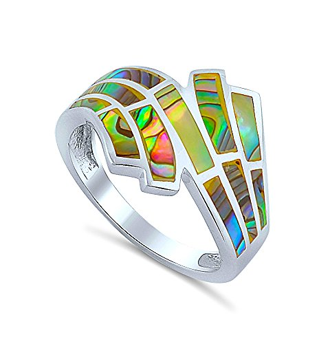 (Heartbeat Sterling Silver Mosaic Hand Cut Abalone Shell Inlaid Ring)