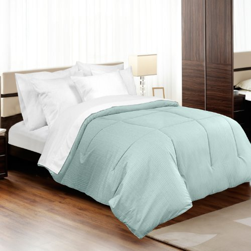 Veratex Medici Collection 100% Egyptian Cotton Made In The USA 310 Thread  Count Dobby Stripe Down Alternative Comforter, Full/Queen, Blue