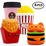 ORWINE Jumbo Squishies Kawaii squishies Hamburger French Fries Coffee Cup Popcorn Squishies Slow Rising Squeeze decorative props Large Stress Relief Toys For Kids & Adults 4PCS