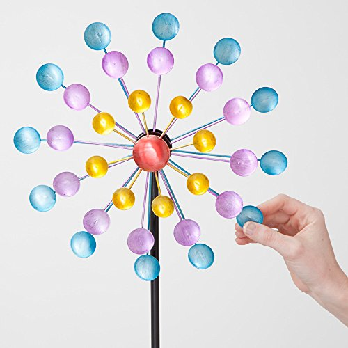 Bits and Pieces - Multi-Color Rainbow Dots Mini Kinetic Wind Spinner Stake - Metal Outdoor Windspinner Sculpture Lawn, Garden, and Yard Decor by Bits and Pieces (Image #2)