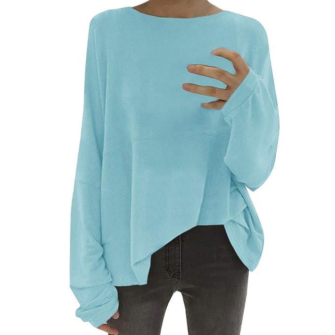 bec3125af046 OSYARD Damen Solide Crewneck Bluse Top Pullover Lange, Frauen Crewneck  Batwing Sleeve Bluse T Shirt Casual Jumper Pullover Tee Tops  Amazon.de   Bekleidung
