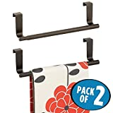 mDesign Decorative Kitchen Over Cabinet Stainless Steel Towel Bar - Hang on Inside or Outside of Doors, Storage and Display Rack for Hand, Dish, and Tea Towels - 9'' Wide, Pack of 2, Bronze