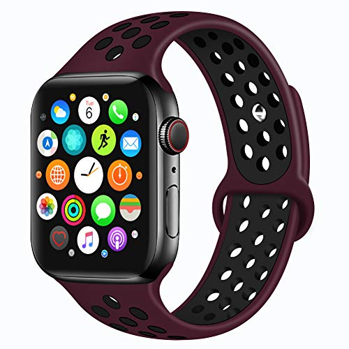 Bravely klimbing Compatible with Apple Watch Band 40mm 38mm, Soft Silicone iWatch Bands Replacement Sport Bands for iWatch Series 4/3/2/1 for Men and Women S/M Wine red-Black