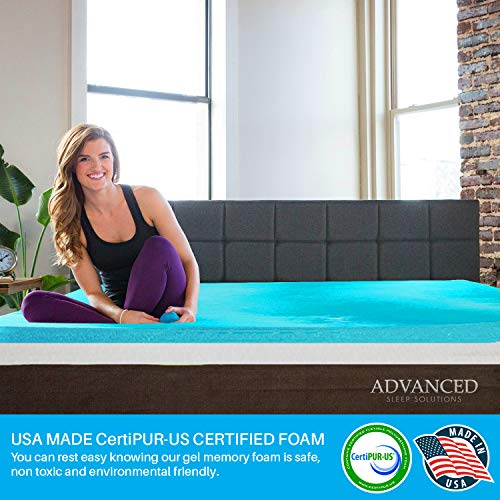 Gel Memory Foam Mattress Topper Queen Size, Plush 2 Inch Thick, Premium Gel-Infused Memory Foam Mattress/Bed Topper/Pad for a Soft, Conforming, and Comfortable Sleep. Made in The USA - 3 Year Warranty