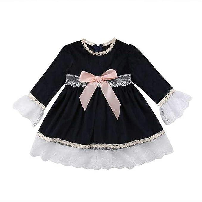 d81027e95 Vestidos de Bebé Niñas, Allskid Otoño Manga Larga Bowknot Cordón Decoración Princesa  Negro Girls Dress: Amazon.es: Ropa y accesorios