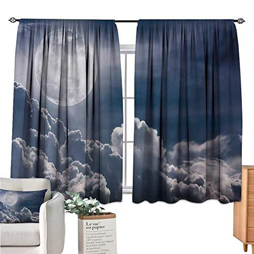 Unprecall Night Sky Window Curtain 2 Panel Celestial Photo Big Full Moon and Fluffy Clouds Majestic Dramatic Idyllic Dark Blue White Doorway Curtain W72 x L45 (Screen Fireplace Celestial)