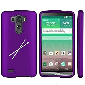 LG G3 Snap On 2 Piece Rubber Hard Case Cover Drum Sticks (Purple)