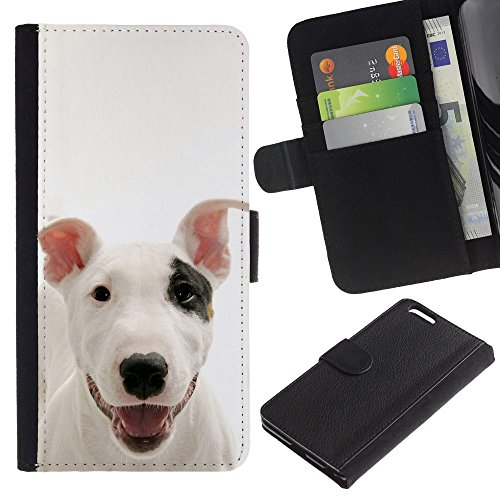 LASTONE PHONE CASE / Luxe Cuir Portefeuille Housse Fente pour Carte Coque Flip Étui de Protection pour Apple Iphone 6 PLUS 5.5 / American Pit Bull Terrier Dog Canine Pet