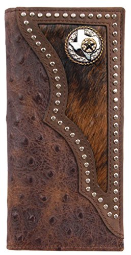 (Custom Texas Rope and Star Long Ostrich print wallet with hair and hide inlay)