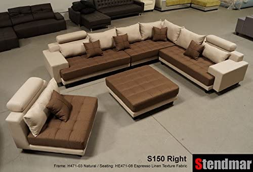 Stendmar 5pc Multifunction 2-Tone Linen Fabric Big Sectional Sofa S150RNE