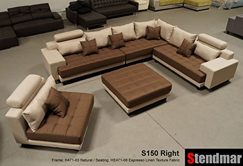 5pc multifunction 2-Tone Linen Texture Fabric Big Sectional Sofa S150RNE