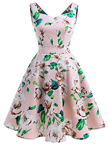 60s Outfits For Women (IVNIS RS90031 Women's Vintage A-line Straps Retro Rockabilly Cocktail Prom Dresses with Pockets Pink Flower 3XL)