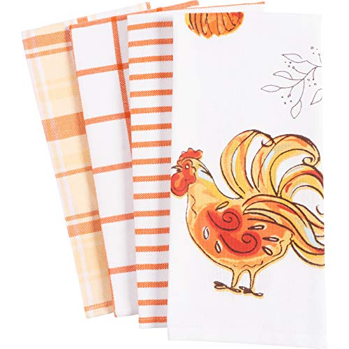 KAF Home Pantry Kitchen Dish Towel Set of 4, 100-Percent Cotton, 18 x 28-inch (Harvest Rooster)
