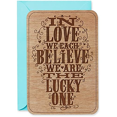 Hallmark Signature Valentine's Day Card: Lucky in Love Etched Wood Sales