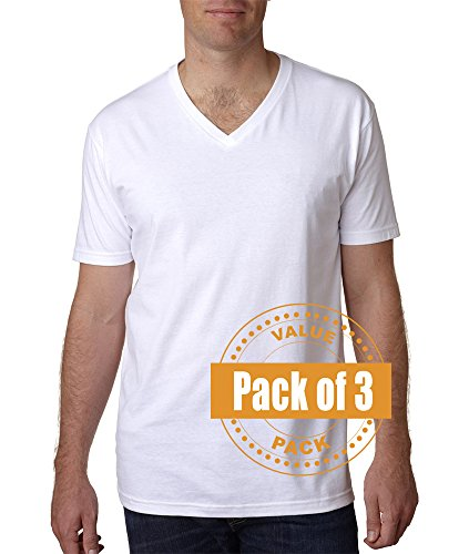 Nothing Premium T-shirt - Next Level Mens Premium Fitted Short-Sleeve V-Neck N3200-White-Large (3 Pack)