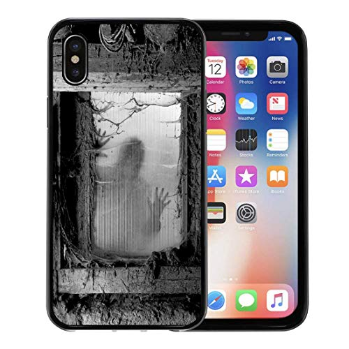 Semtomn Phone Case for Apple iPhone Xs case,Scary of Zombie Outside Window That is Covered Spiderwebs and Filth Halloween for iPhone X Case,Rubber Border Protective Case,Black ()