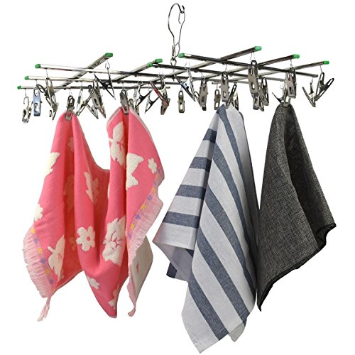 Price comparison product image GES NET Stainless Steel Foldable Portable Travel Hanging Rack Drip Laundry Hanger With 34 Clips For Drying Sock, Kid Clothes, Towel, Underwear, Lingerie, Hat, Rack, Scarf and many more