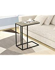 Safdie & Co. End Night Stand/Bedside Accent Table Black Metal, Dark Taupe Wood -