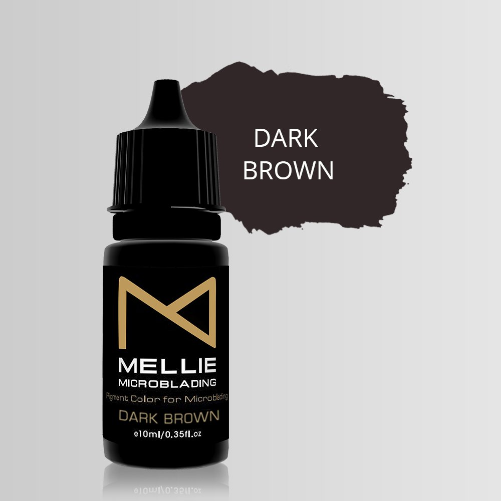 Mellie Microblading Pigment - Dark Brown 10 ml/.35fl.oz | Medical Grade | No Mixing | Long Lasting Tattoo Ink For Professionals Semi-Permanent Make Up PMU Supplies by M