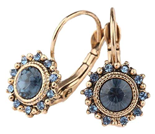 - Blue Crystal Earrings B1 Glass French Clip Lever Back Gold Tone