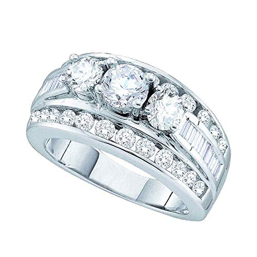 Jewels By Lux 14k White Gold Womens Round Diamond 3-stone Bridal Wedding Engagement Ring 1.00 Cttw In Three Stone Setting (SI3 clarity; G-H - Diamonds Setting Si3 Clarity