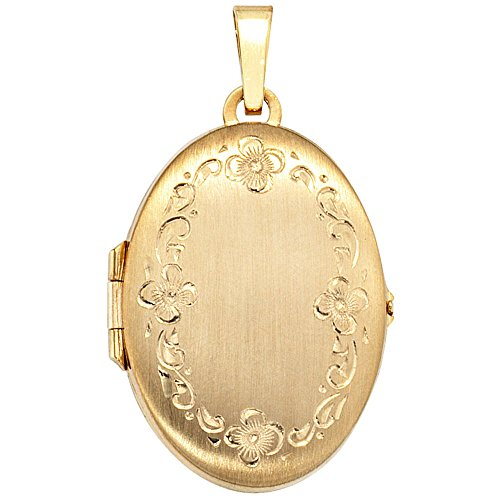 Pendentif médaillon en or jaune 333 dépoli goldanhänger pour femme