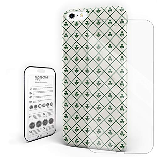 (St. Patrick's Day Ultra Thin Phone Case, Vintage Checker Plaid Tile Clover Leaf, Hybrid Layer Scratch Resistant Hard Back Phone Cover Bumper Case with Tempered Glass Screen Protector for iPhone 6/6s)