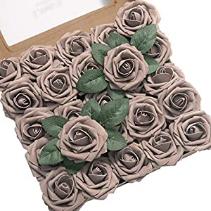 Ling's moment Artificial Flowers 25pcs Real Looking Taupe Fake Roses w/Stem for DIY Wedding Bouquets Centerpieces Bridal Shower Party Home Decorations 18