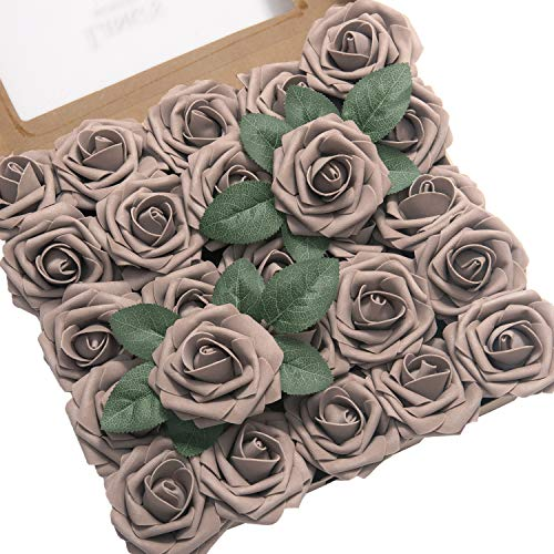 Ling's moment Artificial Flowers 25pcs Real Looking Taupe Fake Roses w/Stem for DIY Wedding Bouquets Centerpieces Bridal Shower Party Home ()