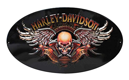 Oval Tin Sign - Harley-Davidson Oval Tin Sign, Biker to The Bone Winged Skull, Black 2010441