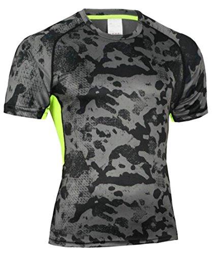 不機嫌そうなぼかす追放JWKメンズジムクイックドライ圧縮半袖通気性Tシャツトップス