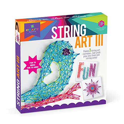 Ann Williams Group Craft-Tastic String Art Kit III - Craft Kit Makes 3 Large String Art Canvases]()
