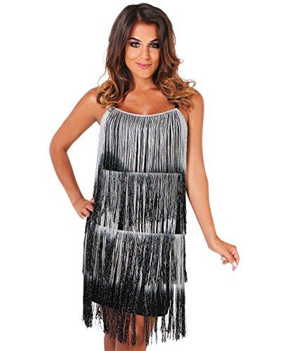 Silver Fringe Dress (KRISP Swing Party Dress (FBA_USA6097-SIL-12))