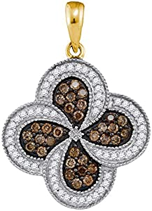 10kt Yellow Gold Womens Round Cognac-brown Colored Diamond Pinwheel Pendant 3/4 Cttw