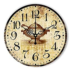 Biscount 14 Inch Large Modern Wall Clock Silent Quartz Rome Number Coffee teapot Clock Art Style Living Room Home Decoration Wall Clock
