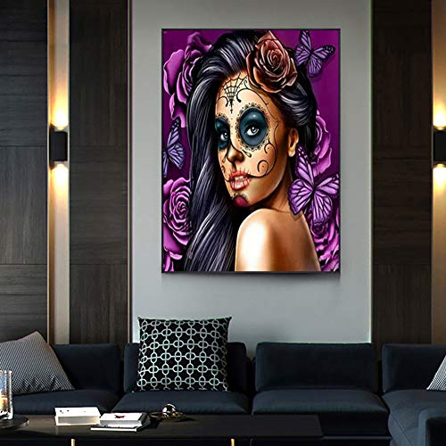 5D Diamond Painting Kits for Adults Full Drill Gem Painting Kit Rhinestone Pasted DIY Paint with Diamonds Arts Crafts for Home Wall Decor 30x40cm/11.8×15.7Inches(Skull Girl)