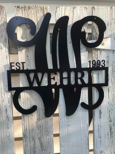 Metal Last Name Sign 24 inch ACM Metal Wall Decor Monogram Gift For Women Wedding Gift Initial Door Hanger Monogram Door Wreath Established Family Sign Metal Golden Anniversary Gift ()