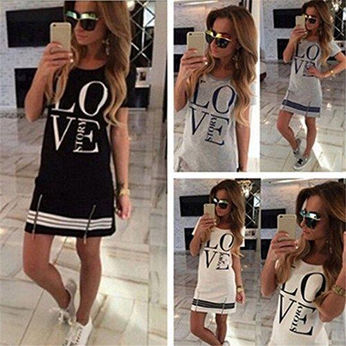 - Zhchl Sports Style Women Letter LOVE Printed Long T-shirt One-piece Casual Dress Zipper