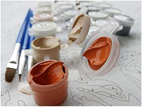 Pintar por Numeros para Adultos Niños Ventanas Amarillas DIY Pintura óleo Números con Pinceles y Pinturas Decoraciones para el Hogar (16x20 Pulgadas, Marco de Madera)