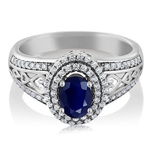 Gem Stone King Blue Sapphire 925 Sterling Silver Gemstone Birthstone Women's Ring 1.41 cttw, Center Stone: 6x4mm (Size 6)