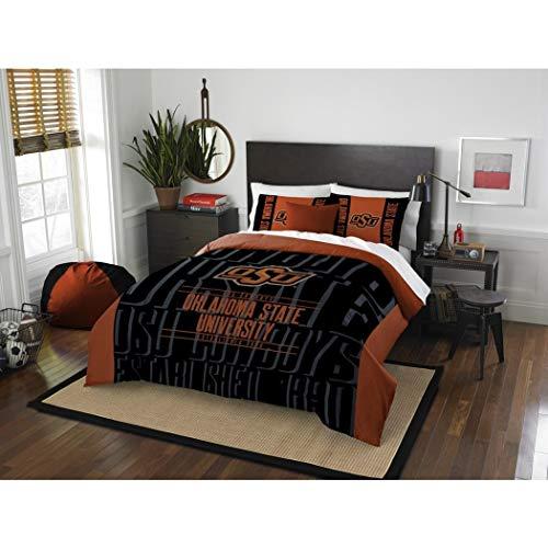 3 Piece NCAA Oklahoma State University Cowboys Comforter Full/Queen Set, Sports Patterned Bedding, Featuring Team Logo, Fan Merchandise, Team Spirit, College Football Themed, Black Orange, For Unisex