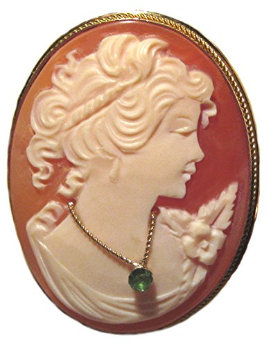 Cameo Pin Pendant Italian Sterling Silver Master Carved Conch Shell Italian Emerald Necklace Cameo Italian Pin Pendant