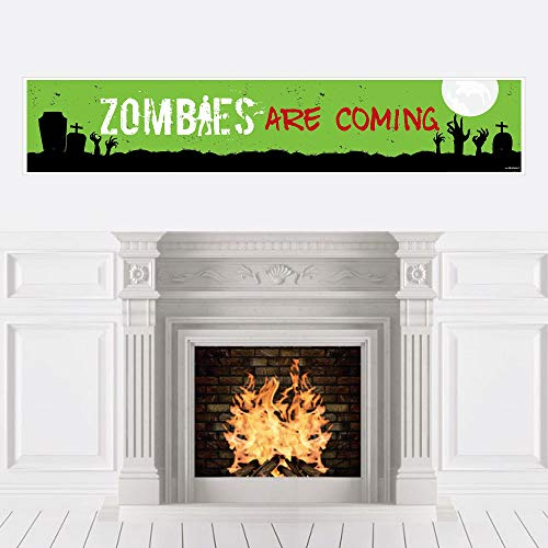 Big Dot of Happiness Zombie Zone - Halloween Zombie Crawl Party Decorations Party Banner -