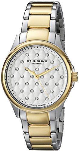 Stuhrling Original Women's 567.02 Vogue Swiss Quartz Crystal Dial Two Tone Gold Watch