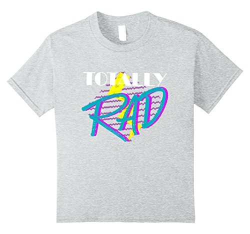 [Kids Totally Rad 1980s vintage style costume party t-shirt 10 Heather Grey] (1980s Costumes For Boys)