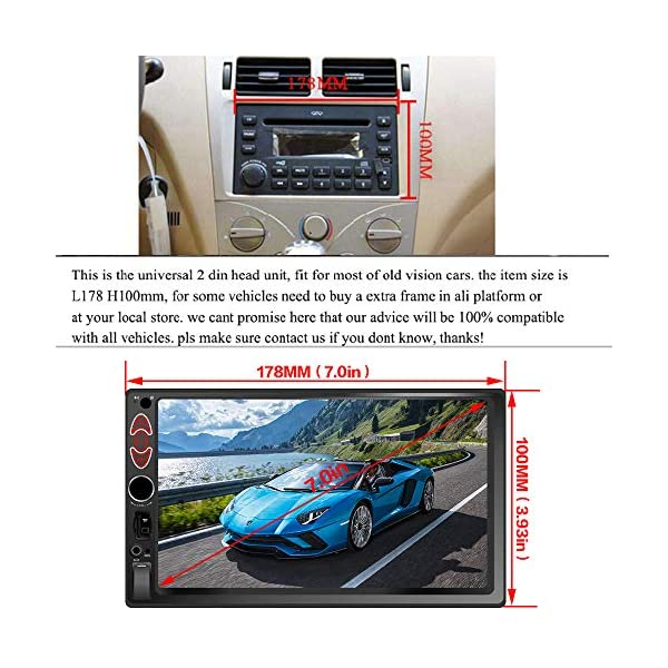 7 inch Double Din Touch Screen Car Stereo Upgrade The Latest Version MP5//4//3 Player FM Radio Video Support Backup Rear-View Camera Mirror Link
