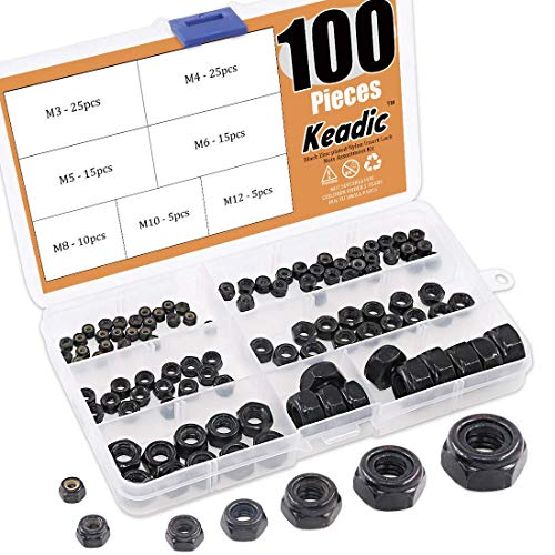Keadic 100 Pieces Metric Black Zinc Plated Nylon Insert Lock Nuts Assortment Kit for Matching Screws or Bolts - 7 Sizes:M3 M4 M5 M6 M8 M10 M12